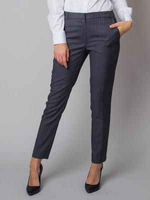 Grafitowe spodnie garniturowe w prążek