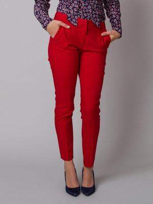 Czerwone klasyczne spodnie garniturowe typu long size