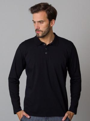 Czarna koszulka polo z długim rękawem