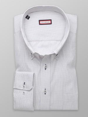 Biała klasyczna koszula w fioletową kratkę