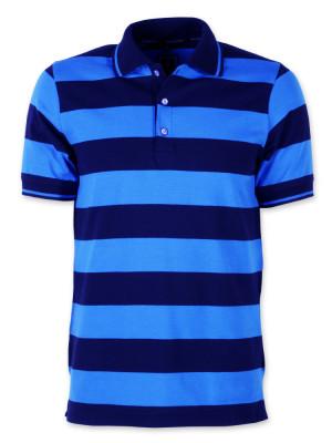 Koszulka polo w czarno-niebieskie pasy