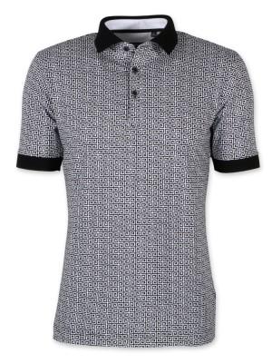 Koszulka polo w czarno-biały wzór