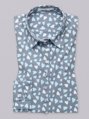 Szara bluzka oversize w błękitne serca
