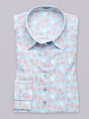Błękitna bluzka oversize w białe serca