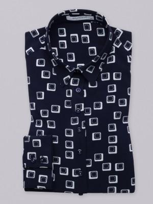 Granatowa bluzka oversize w geometryczny wzór