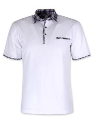 Biała koszulka polo z kontrastami