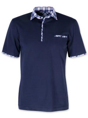 Granatowa koszulka polo z kontrastami