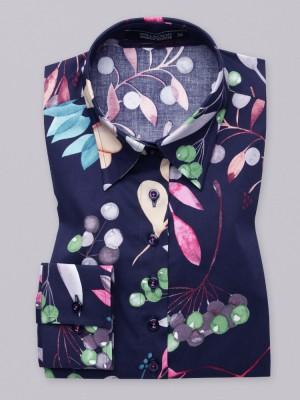 Granatowa bluzka w kolorowe rośliny