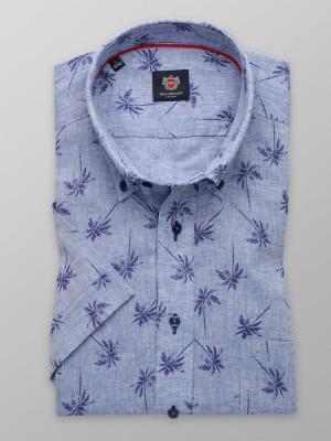 Lniana taliowana koszula w palmy
