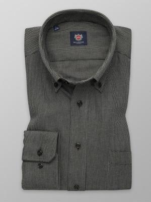 Czarna taliowana koszula w drobny wzór