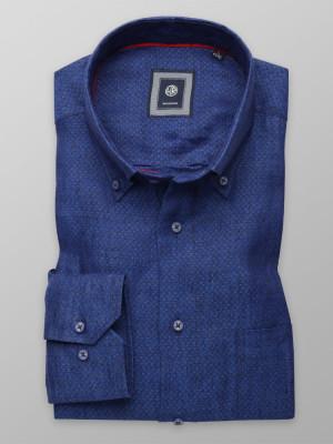 Niebieska lniana klasyczna koszula