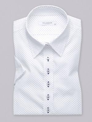 Biała bluzka w granatowe kropki