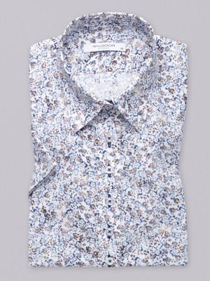 Biała bluzka w niebieskie i brązowe kwiatki