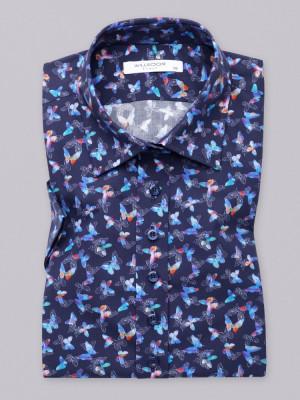 Granatowa bluzka w kolorowe motyle