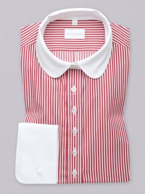 Bluzka w białe i bordowe paski