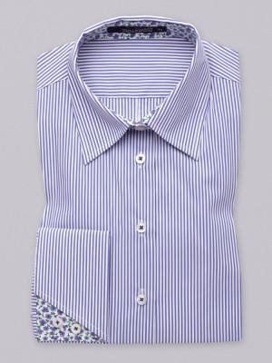 Bluzka w biało-błękitne paski na spinki