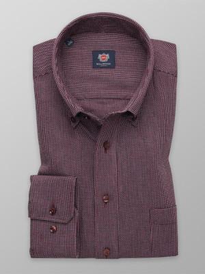 Bordowa klasyczna koszula w drobny wzór