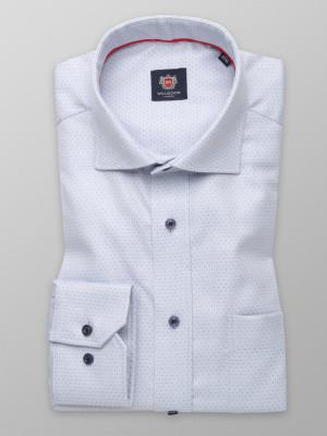 Popielata klasyczna koszula w kropki