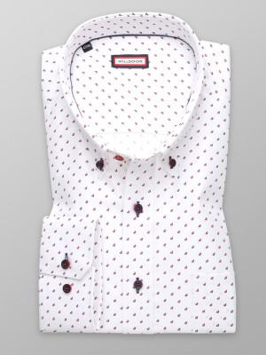 Biała klasyczna koszula w bordowe łezki