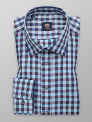 Granatowo-niebieska taliowana koszula w kratę