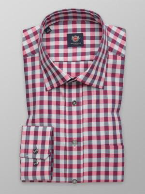 Rożowo-szara klasyczna koszula w kratę