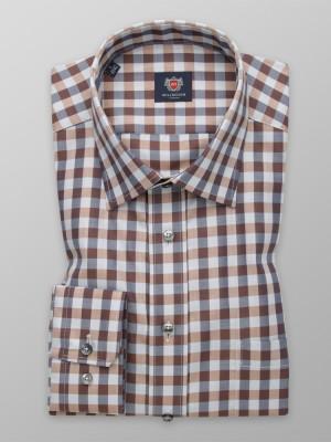 Brązowo-szara taliowana koszula w kratę