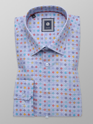 Błękitna klasyczna koszula w kolorowe kwiatki