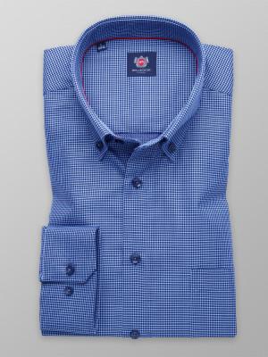 Błękitna klasyczna koszula w granatowe kropki