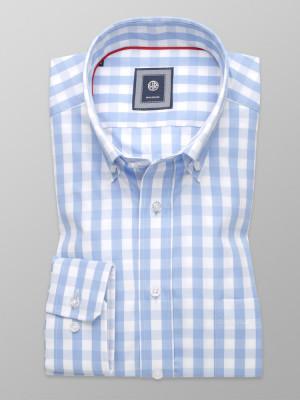 Taliowana koszula w błękitno-białą kratkę