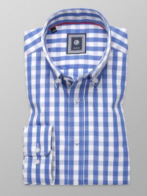 Klasyczna koszula w niebiesko-białą kratkę