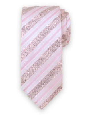 Różowy jedwabny krawat w pasy