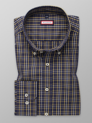 Granatowa taliowana koszula w kratkę