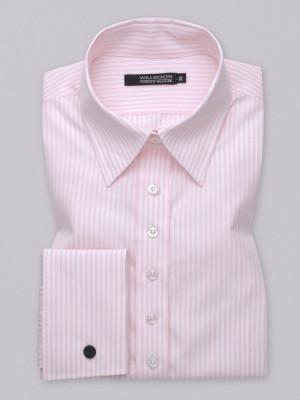 Różowa bluzka typu long size z mankietami na spinki