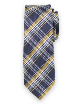 Wąski krawat w granatowo-żółtą kratkę