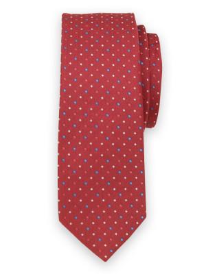 Wąski czerwony krawat w kropki