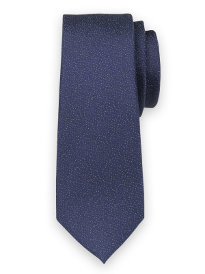 Wąski granatowy krawat w kropki