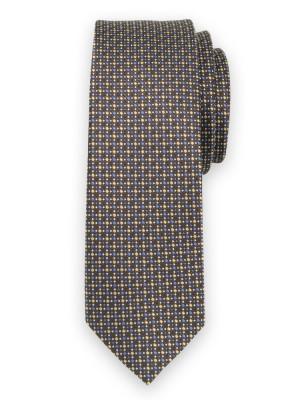 Wąski brązowy krawat w kolorowe kropki