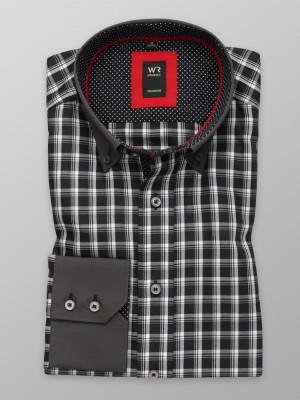 Czarna klasyczna koszula w białą kratkę