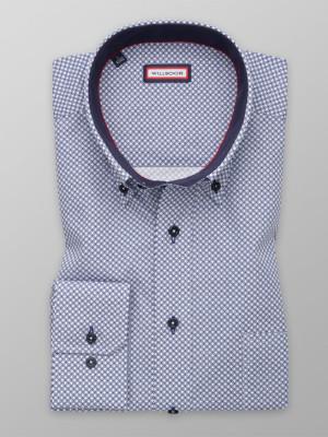 Biała klasyczna koszula w granatowy wzór