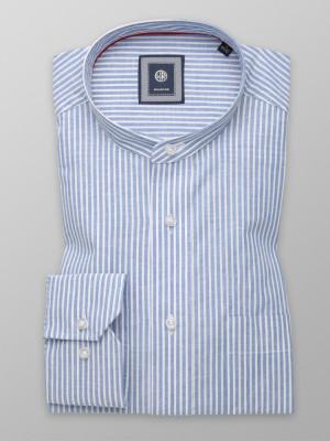 Błękitna klasyczna koszula w białe paski