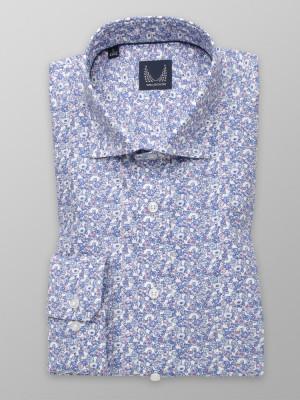 Biała klasyczna koszula w niebieskie kwiatki