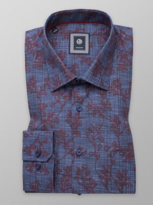 Granatowa klasyczna koszula w kwiecisty wzór
