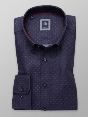 Granatowa klasyczna koszula w błękitne łezki