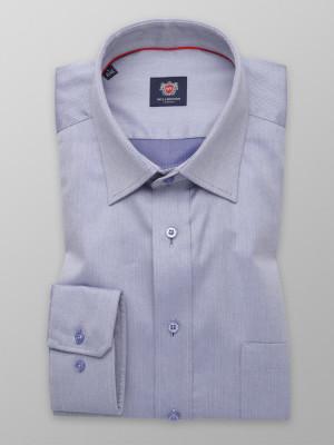 Popielata klasyczna koszula w jodełkę