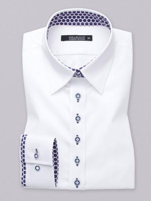 Biała bluzka z kontrastami w groszki
