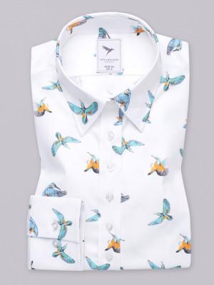 Biała bluzka w kolorowe ptaki