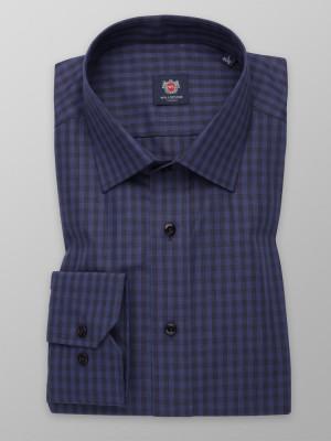 Taliowana koszula w granatowo-czarną kratkę