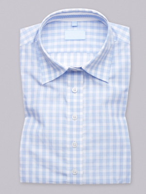 Błękitna bluzka w błękitną kratkę