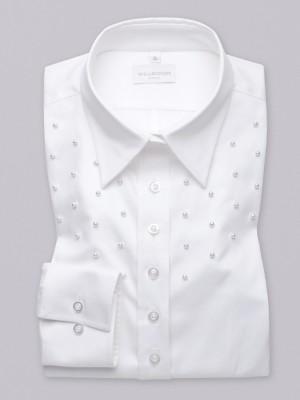 Biała bluzka z perłowymi zdobieniami