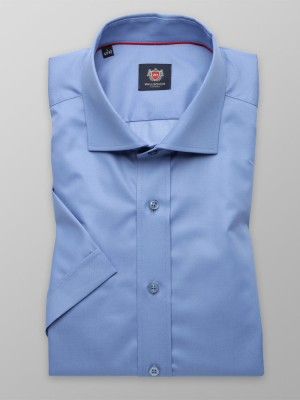 Niebieska gładka taliowana koszula